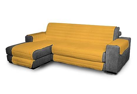 Italian Bed Linen Elegant - Funda Protectora para Sofá Chaise Longue Izquierdo, Microfibra, Amarillo, Medida del asiento 240 cm + cubre brazos ...