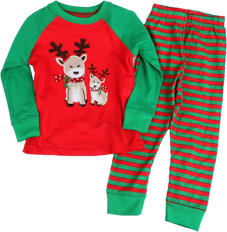 Gold treasure Little Kids Sleepwear Long Sleeve Pajama Set with Cartoon Santa Reindeer 2-7years