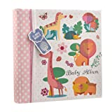 Baby Girls Pink Slip In Case Memo Photo Album 4 x 6'' For 200 Photos - Woodland Animals - Ideal Gift