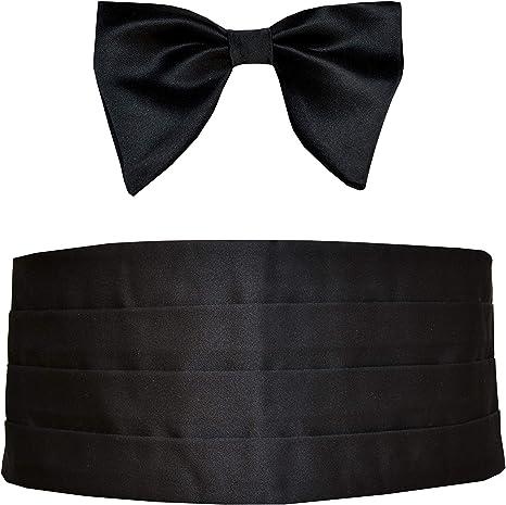 NEW Mens 100/% Silk Black Cummerbund /& Pre Tied Bowtie Formal Tuxedo Gift Set