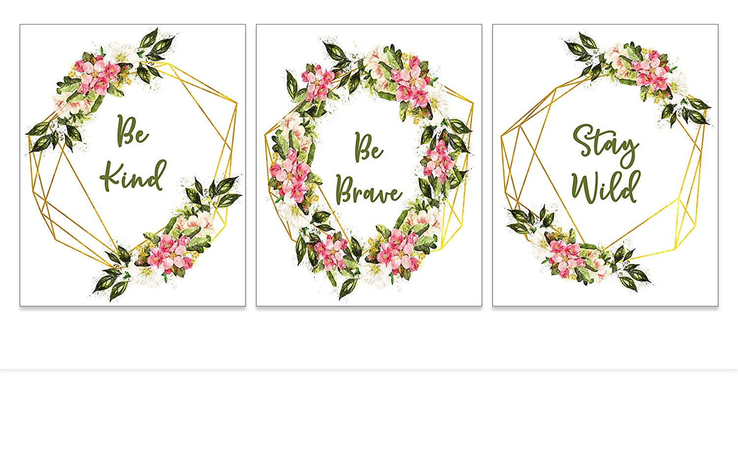 Strong Girls Floral Wreath Art Prints - Inspirational Quote Wall Posters for Teenagers - Boho Bedroom Wall Decor - Shabby Chic Inspirational Artwork for Teens Women - Set of 3 8x10 UNFRAMED