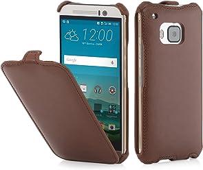 StilGut® SlimCase, Housse, Coque, étui pour HTC One M9, Cognac Vintage