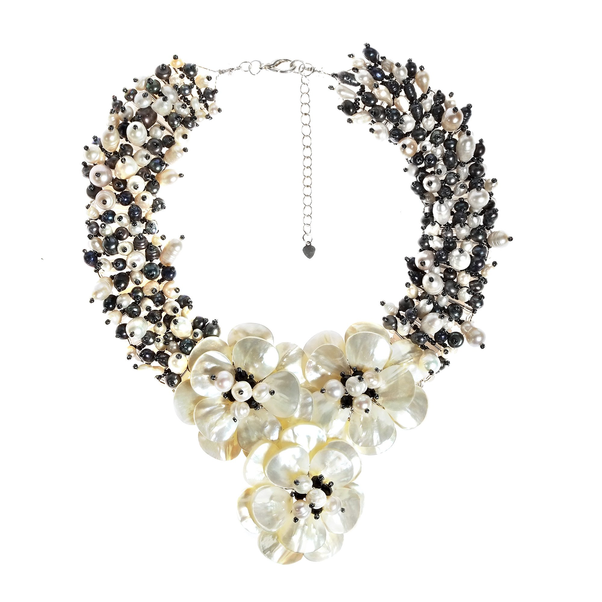 Midnight Floral Mother of Pearl and Cultured Freshwater Pearl Daisy Necklace by AeraVida