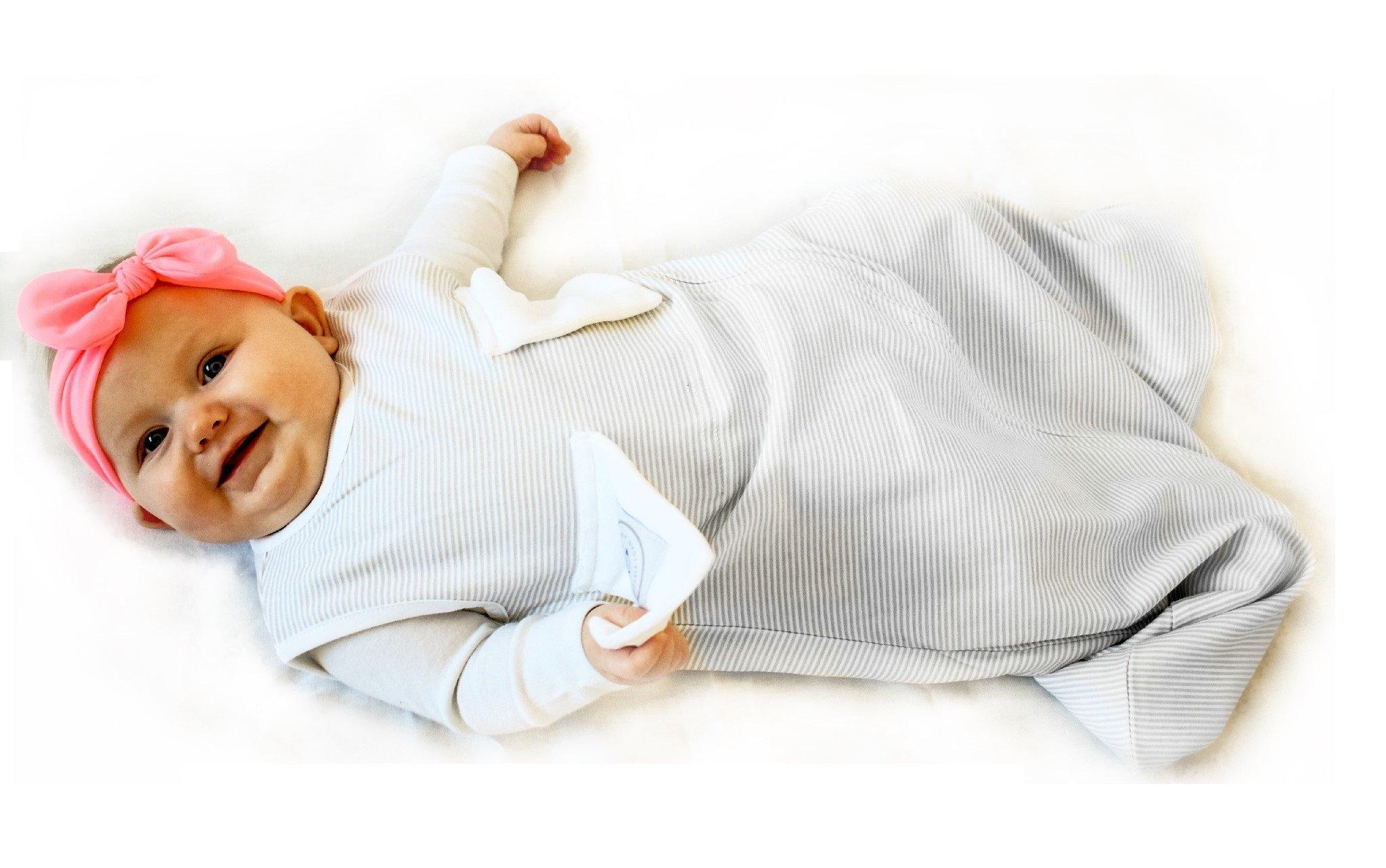 Bitta Kidda Baby Soother Sleeping Bag Wearable Blanket + Lovey, Grey Stripes 3M