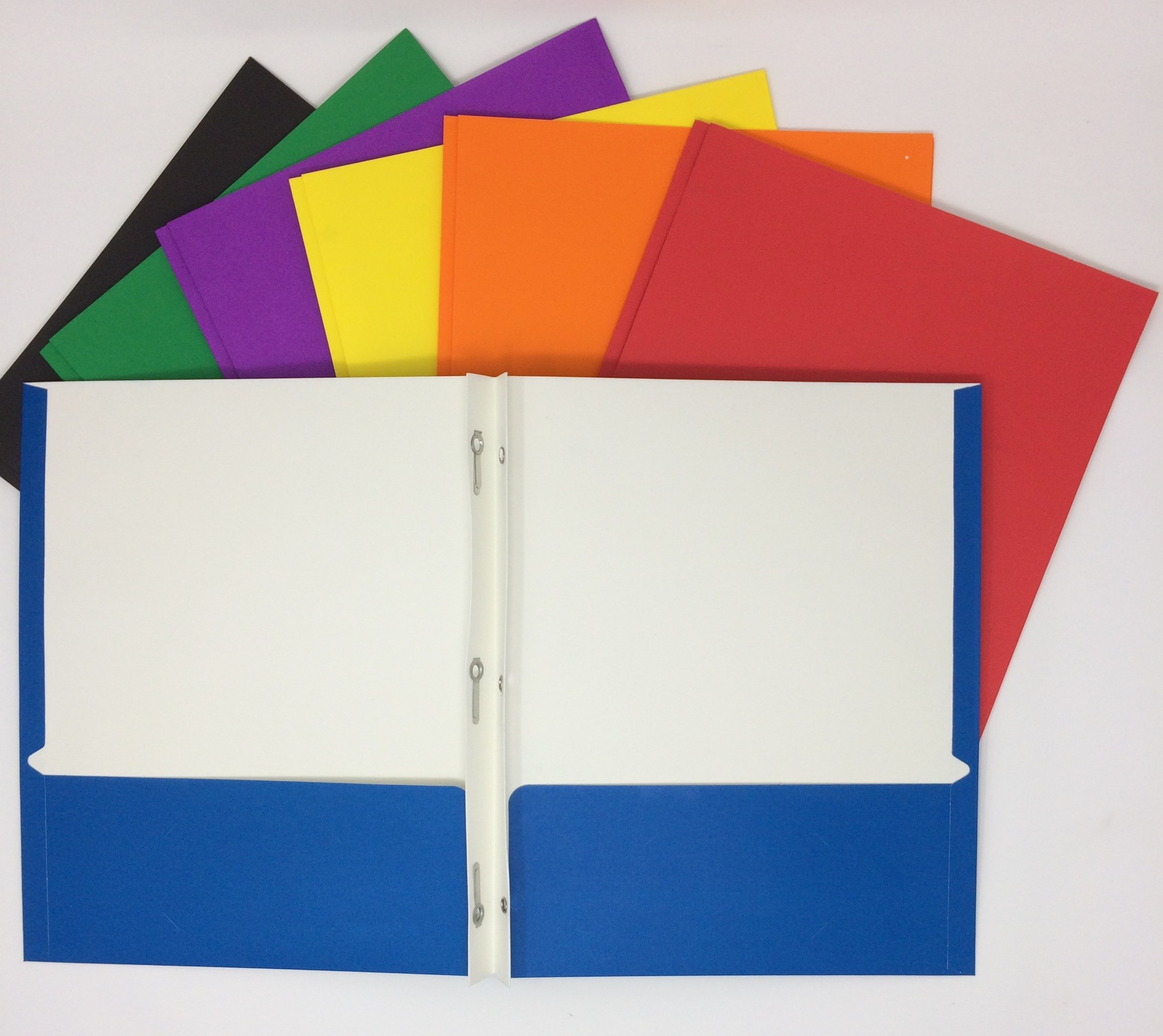 Office Depot Folders for School Set of 7 Two Pocket with 3-Prong Fastener Assorted Colors
