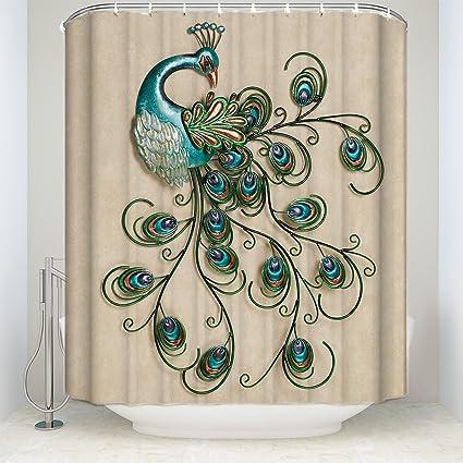 Custom Waterproof Fabric Bathroom Shower Curtain Peacock Decor Include Hooks 66quot