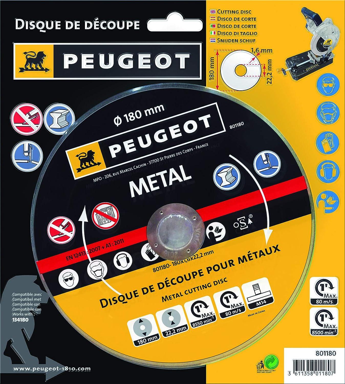 Peugeot Disque de découpe pour métaux 180 mm pour ENERGYCut 180MC Tronçonneuse à métaux 180/185 mm 1280 W MP Outillage 801180