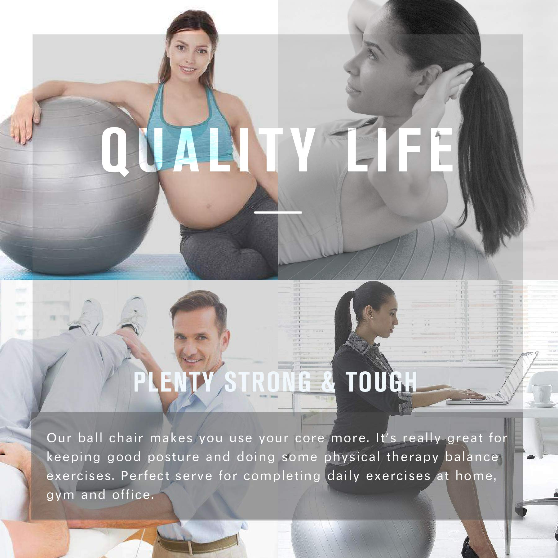 Exercise Ball (65cm Chocooolate) Extra Thick Yoga Ball Chair,Yoga Ball Cover Anti-Burst Heavy Duty Stability Ball Supports 2200lbs, Fitness and Birthing Ball with Inflator and Handle(& Home & Gym) by Guken (Image #2)