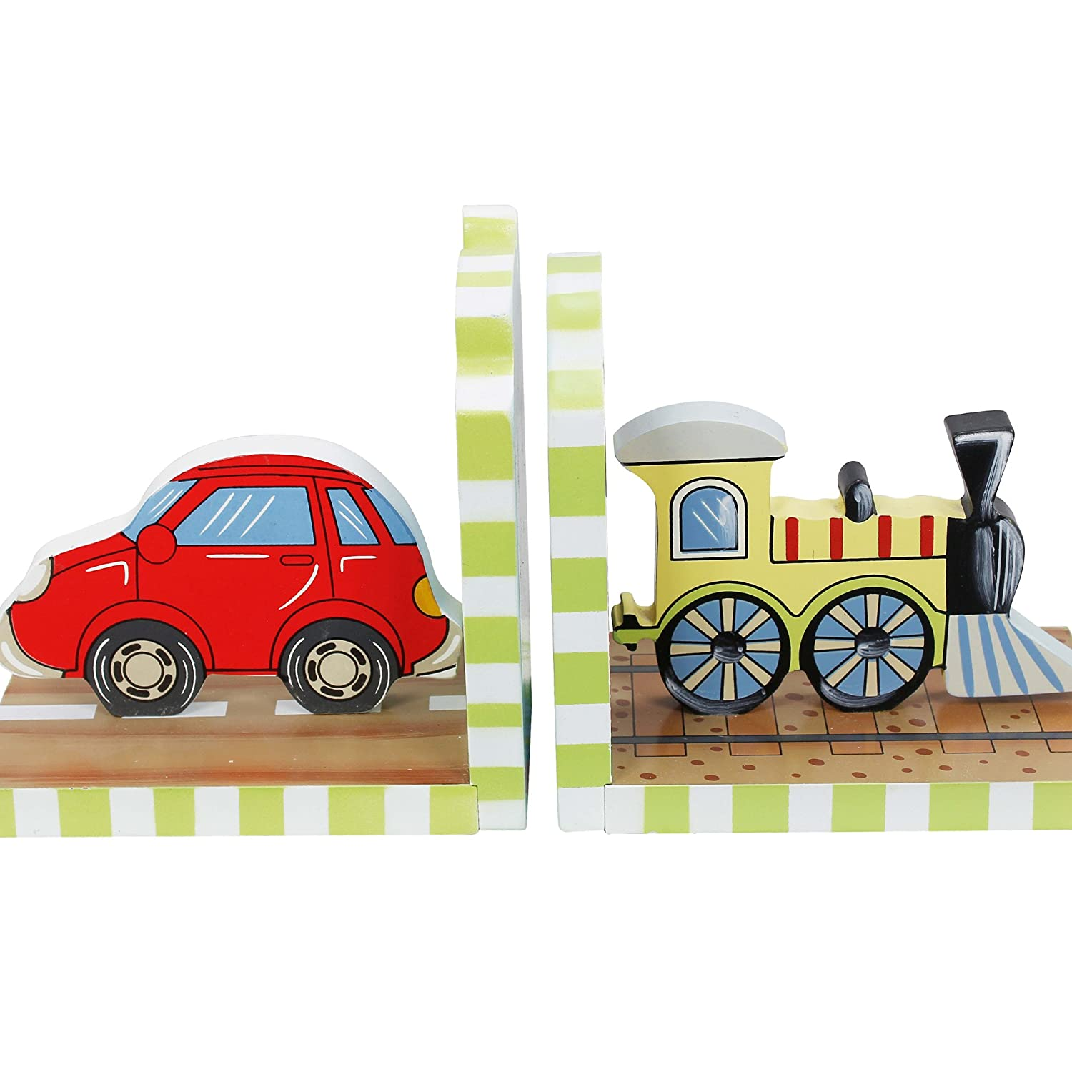 Fantasy Fields - Transportation Thematic Set of 2 Wooden Bookends for Kids | Imagination Inspiring Hand Crafted & Hand Painted Details   Non-Toxic, Lead Free Water-based Paint