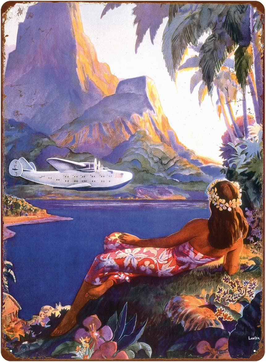 Pacifica Island Art 12in x 16in Vintage Hawaiian Tin Sign - Fly to The South Seas Isles by Paul George Lawler