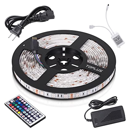 Amazon toplus led strip lights kit waterproof smd 5050 rgb 164 toplus led strip lights kit waterproof smd 5050 rgb 164ft 5m 300leds dimmable led strips aloadofball Image collections