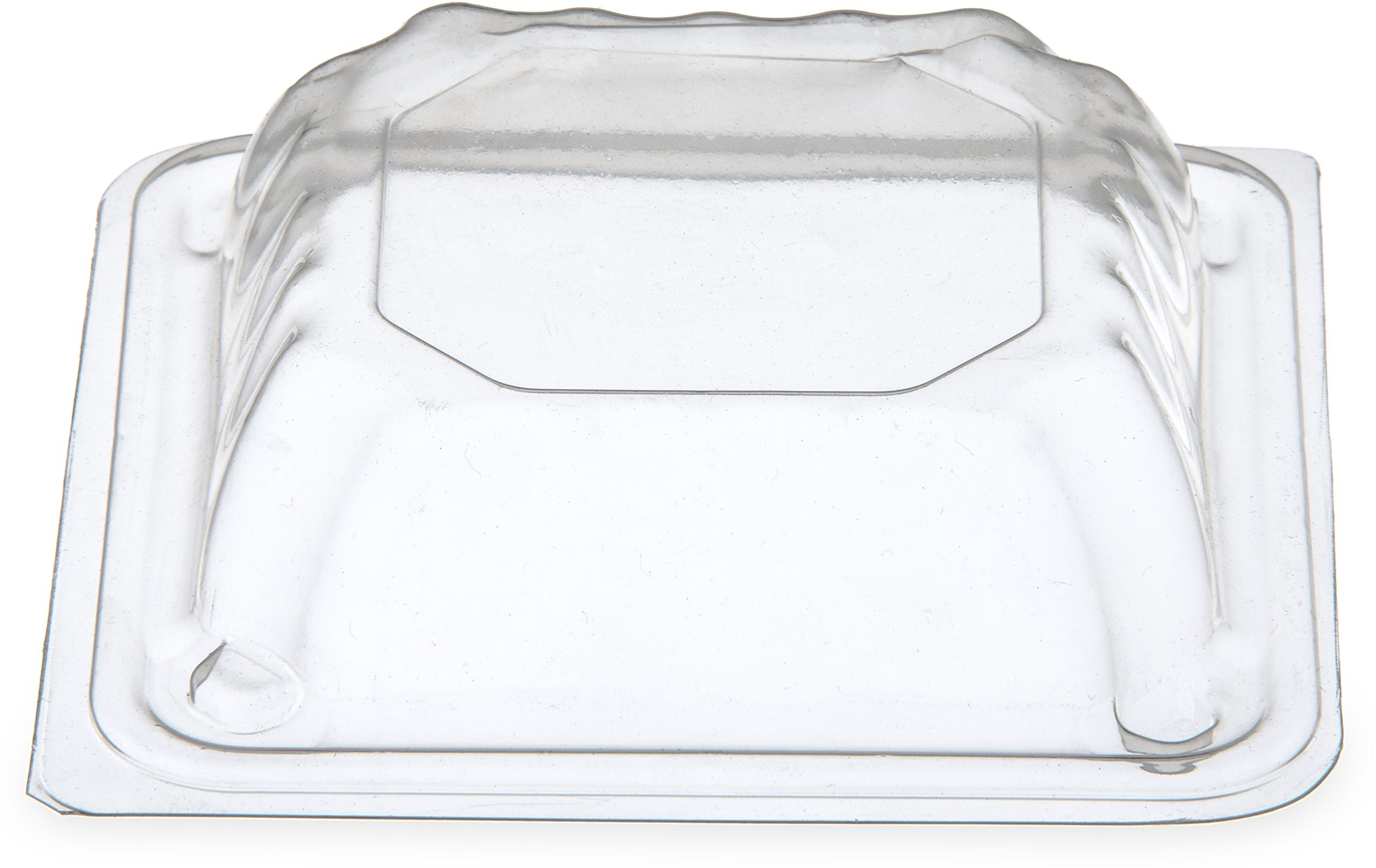 Dinex DX11840174 Disposable Square Dome Lid for DXSB1207, DXSB607 and DXSB907, 4'' Height, 4'' Width, 4'' Length, Polystyrene, Clear (Pack of 1000)