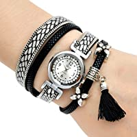 Mehrunnisa Black & Silver Multiband Wrap Bracelet Analogue Watch With Tassel For Girls