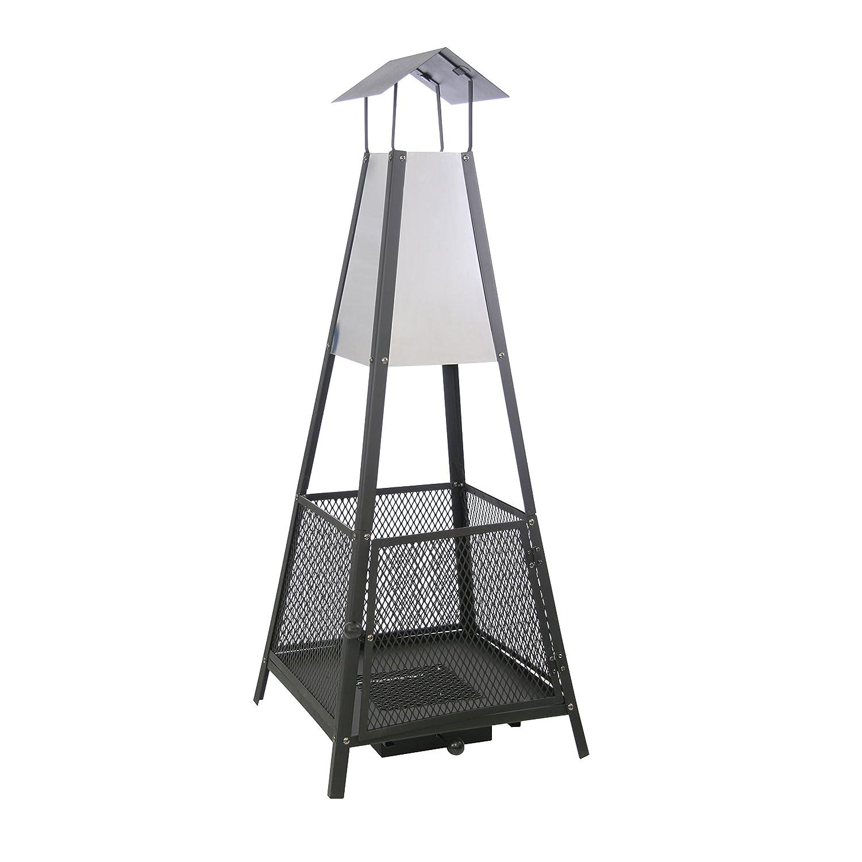 Kamino-Trend 481290 - Estufa de terraza (50 x 50 x 130 cm), color negro y acero: Amazon.es: Hogar