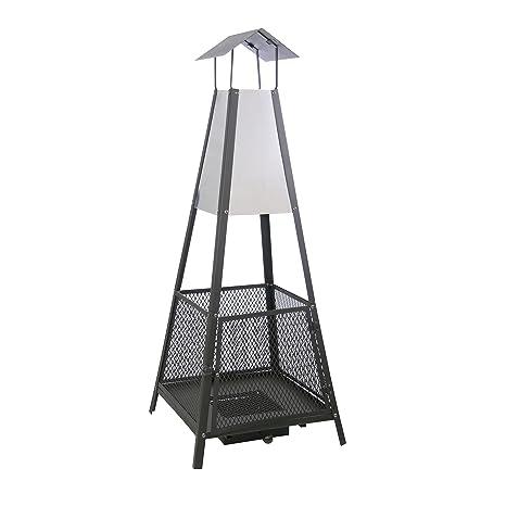 Kamino-Trend 481290 - Estufa de terraza (50 x 50 x 130 cm), color negro y acero