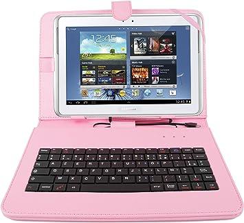 DURAGADGET Funda/Teclado FRANCÉS Rosa para Samsung Galaxy Tab ...