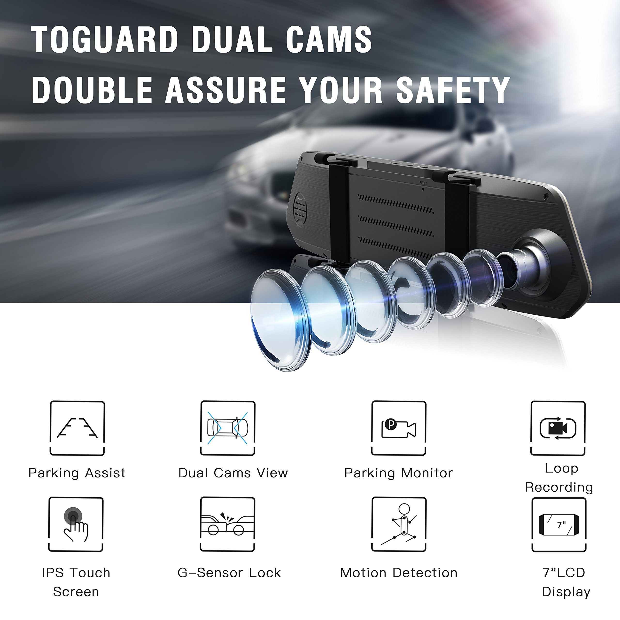 TOGUARD Backup Camera 7'' Mirror Dash Cam Touch Screen 1080P Rearview Front and Rear Dual Lens with Waterproof Reversing Camera by TOGUARD (Image #2)