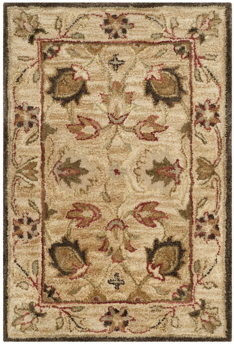 Safavieh Antiquities Collection AT812A Handmade Traditional Oriental Beige and Beige Wool Area Rug 2 x 3