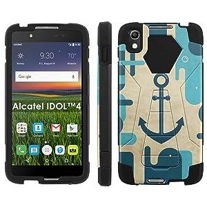 Alcatel One Touch IDOL 4 [Nitro 4/49] Phone Cover, Blue Vintage Anchor - Black Hexo Hybrid Armor Phone Case for Alcatel One Touch IDOL 4 [Nitro 4/49]
