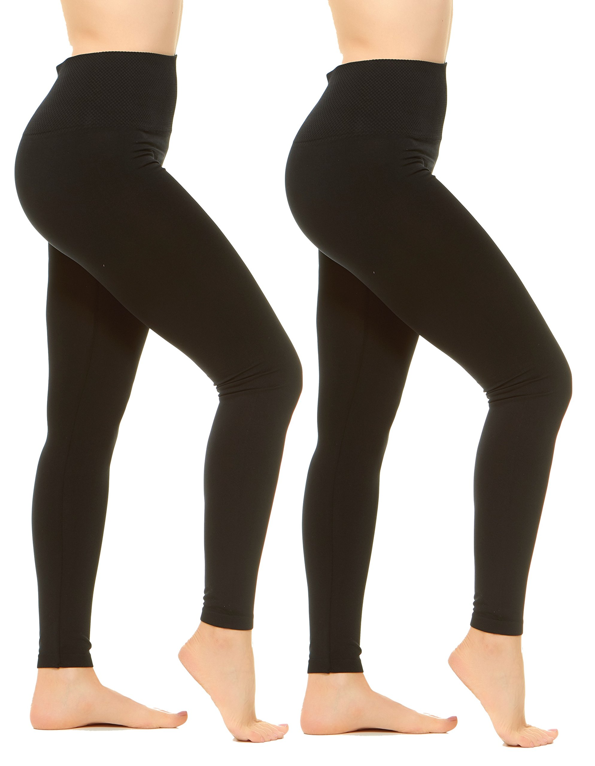 Unique Styles Womens Leggings Active Tights Everyday High Waist Pants Packs of 4 (2-PK: Black, Black, One Size)