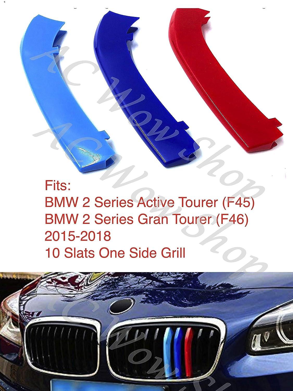 kompatibel mit B M W 2er 2014-2018 F45 Active Tourer F46 Gran Tourer 10 Bars Motorhaube K/ühlergrill Streifen Abdeckung M Performance Power Sport Tech Paket Abzeichen