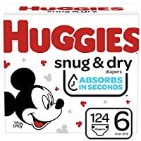 Huggies Snug & Dry Baby Diapers, Size 6, 124 Ct, One Month Supply