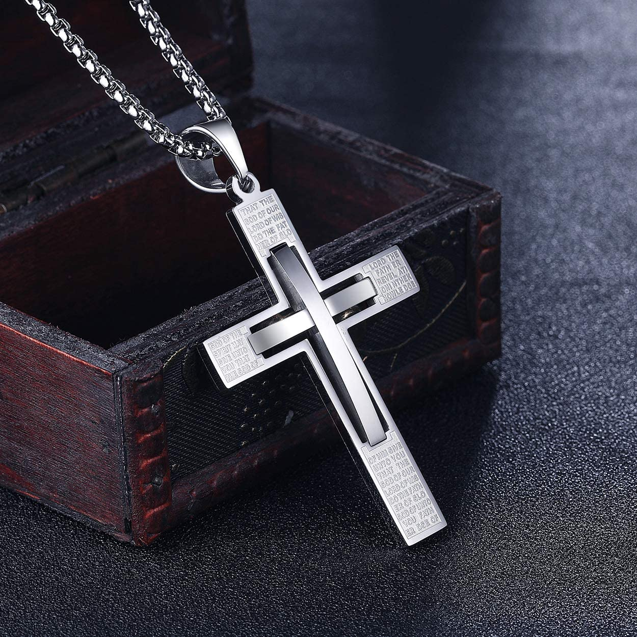 Rehoboth Stainless Steel Lords Prayer Cross Pendant Necklaces Bible Verse Proverbs 4:23 Pendant for Men or Women Chain 24 Inch Black Gold Silver