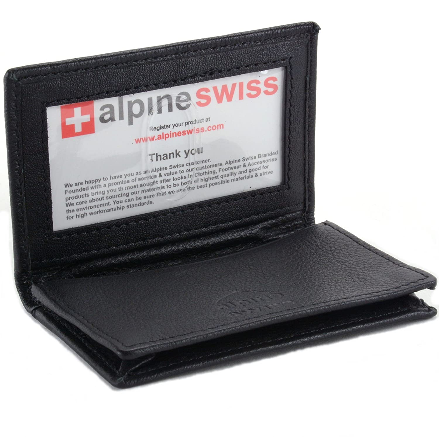 Alpine swiss classic leather business card wallet with id window alpine swiss classic leather business card wallet with id window expandable pocket thin slim billfold credit card case at amazon mens clothing store colourmoves