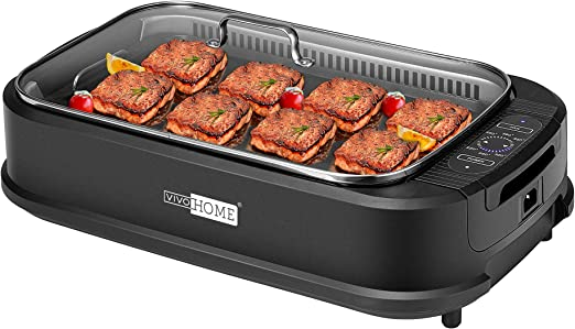 1400W. Tempered Glass Lid Turbo Smoke Extractor Technology LED Smart Control Panel Indoor Smokeless Grill-CSS Portable Electric Grill with Removable Griddle Plate Non-stick Cooking Surface