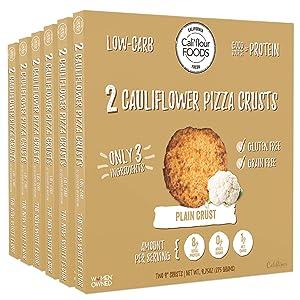 Cali'flour Foods Pizza Crust (Plain, 6 Boxes, 12 Crusts) - Fresh Cauliflower Base | Low Carb, High Protein, Gluten and Grain Free | Keto Friendly