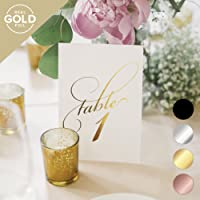 Gold Wedding Table Numbers (Assorted Color Options Available), Double Sided 4x6 Calligraphy Design, Numbers 1-25 & Head Table Card Included — from Bliss Paper Boutique …
