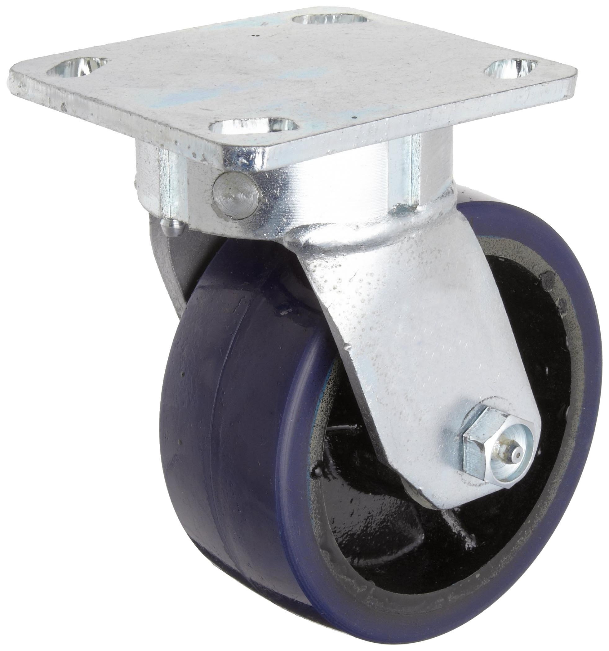 RWM Casters Freedom 48 Series Plate Caster, Swivel, Urethane on Aluminum Wheel, Roller Bearing, 1050 lbs Capacity, 5'' Wheel Dia, 2'' Wheel Width, 6-1/2'' Mount Height, 4-1/2'' Plate Length, 4'' Plate Width