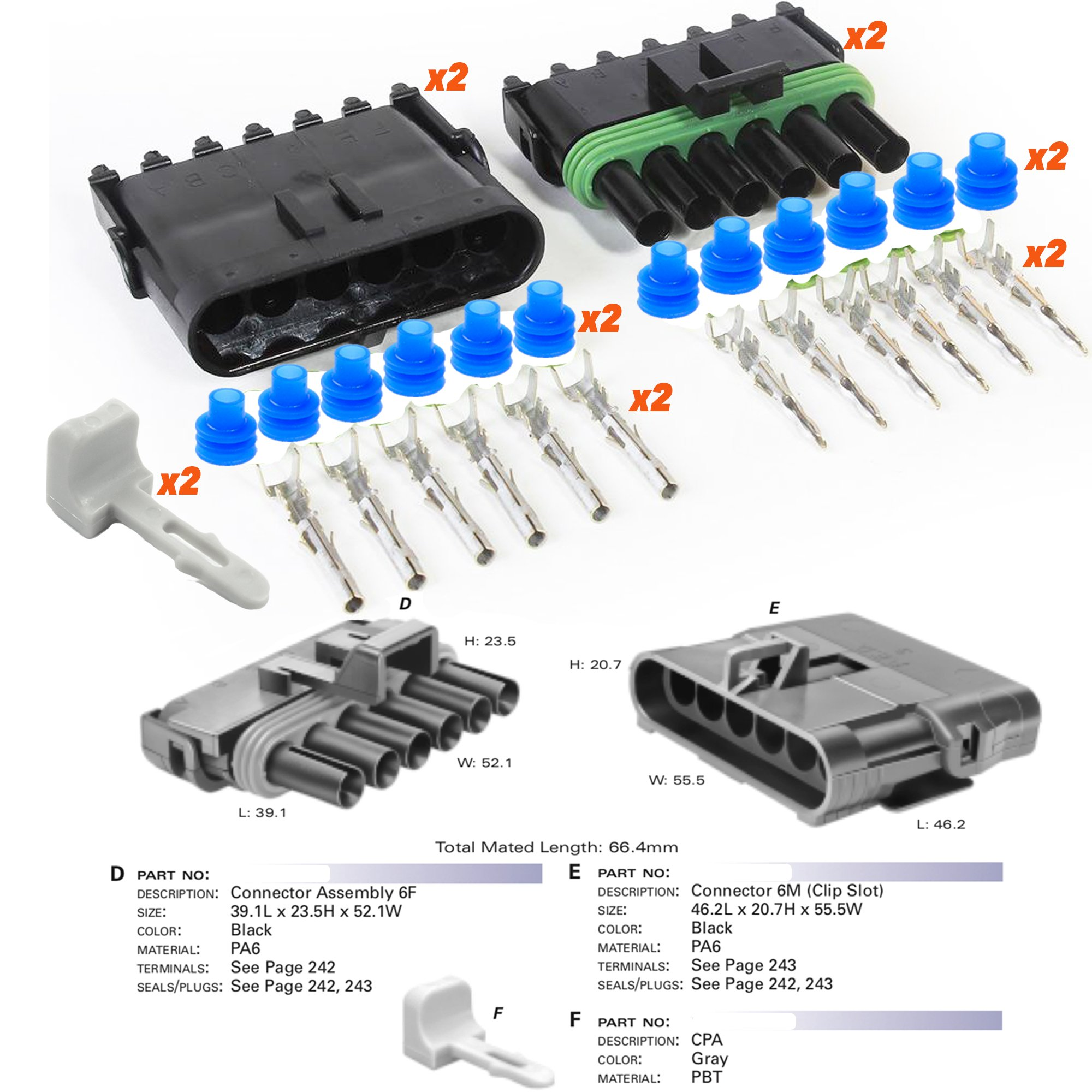 Delphi Packard (6 Circuits) 2 Match Set Weatherpack, Waterproof, Terminal Kit 10 12 GA, with CPA (Connector Position Assurance)