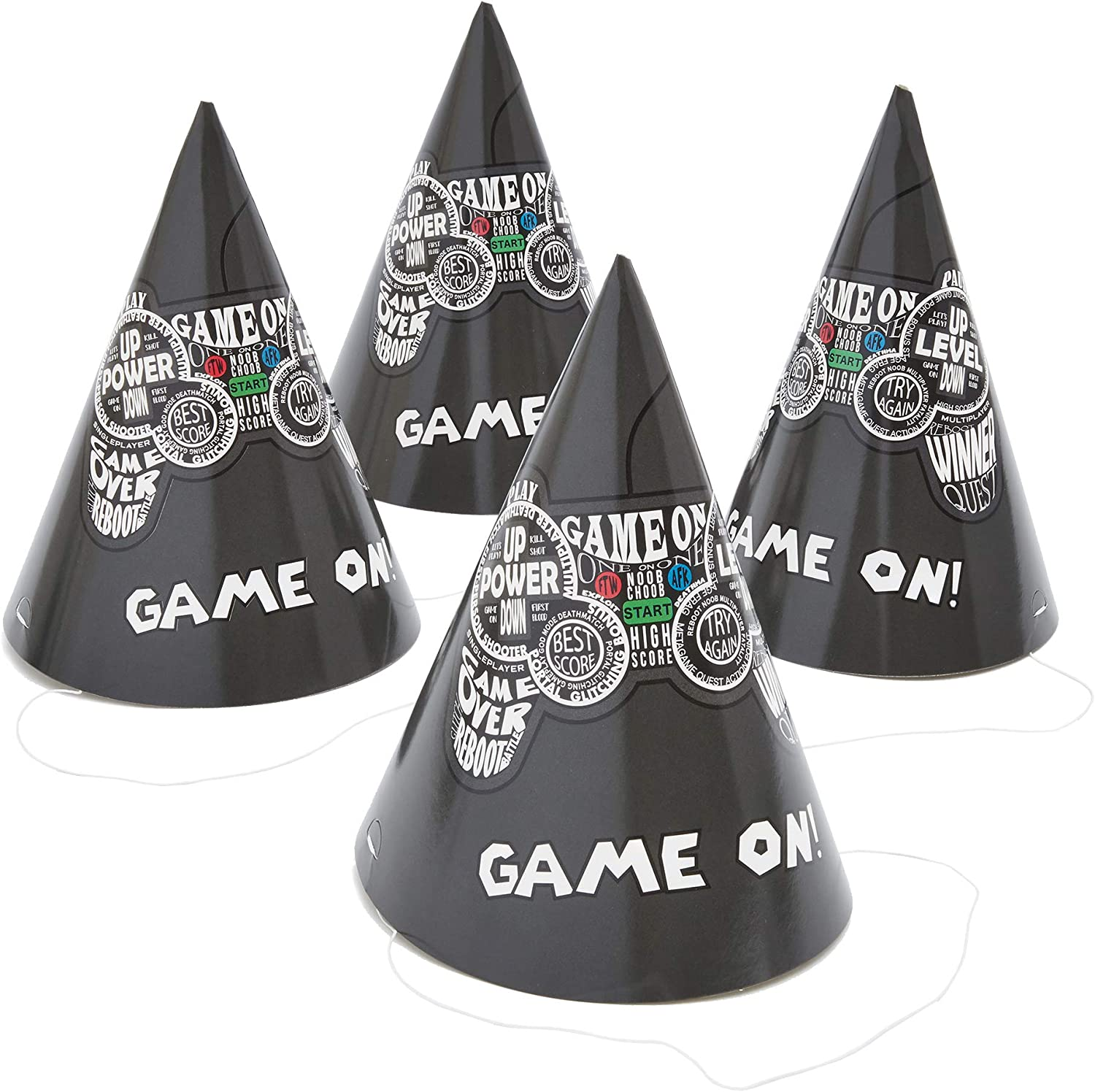 Video Game Birthday Party Cone Hats (5 x 7 in, 24 Pack) Black