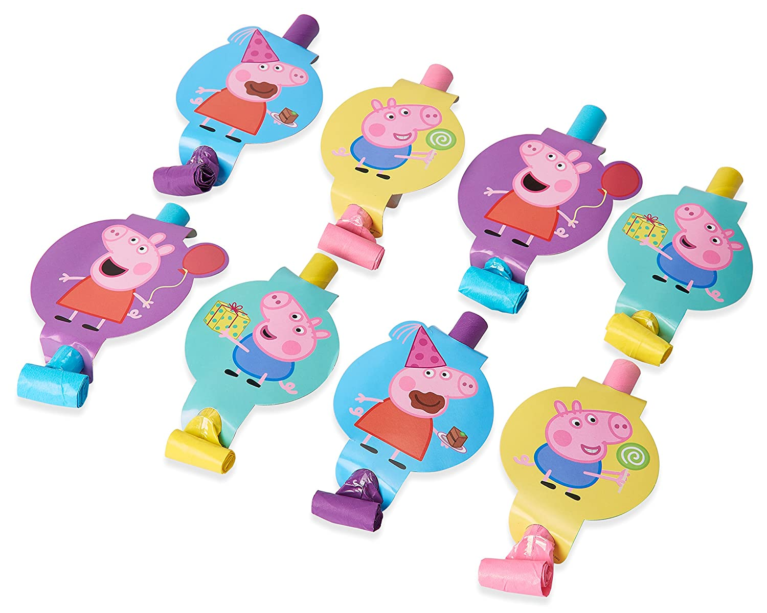 "Peppa Pig Birthday Party Blowouts Favour, Plastic, 5"", Pack of 8"