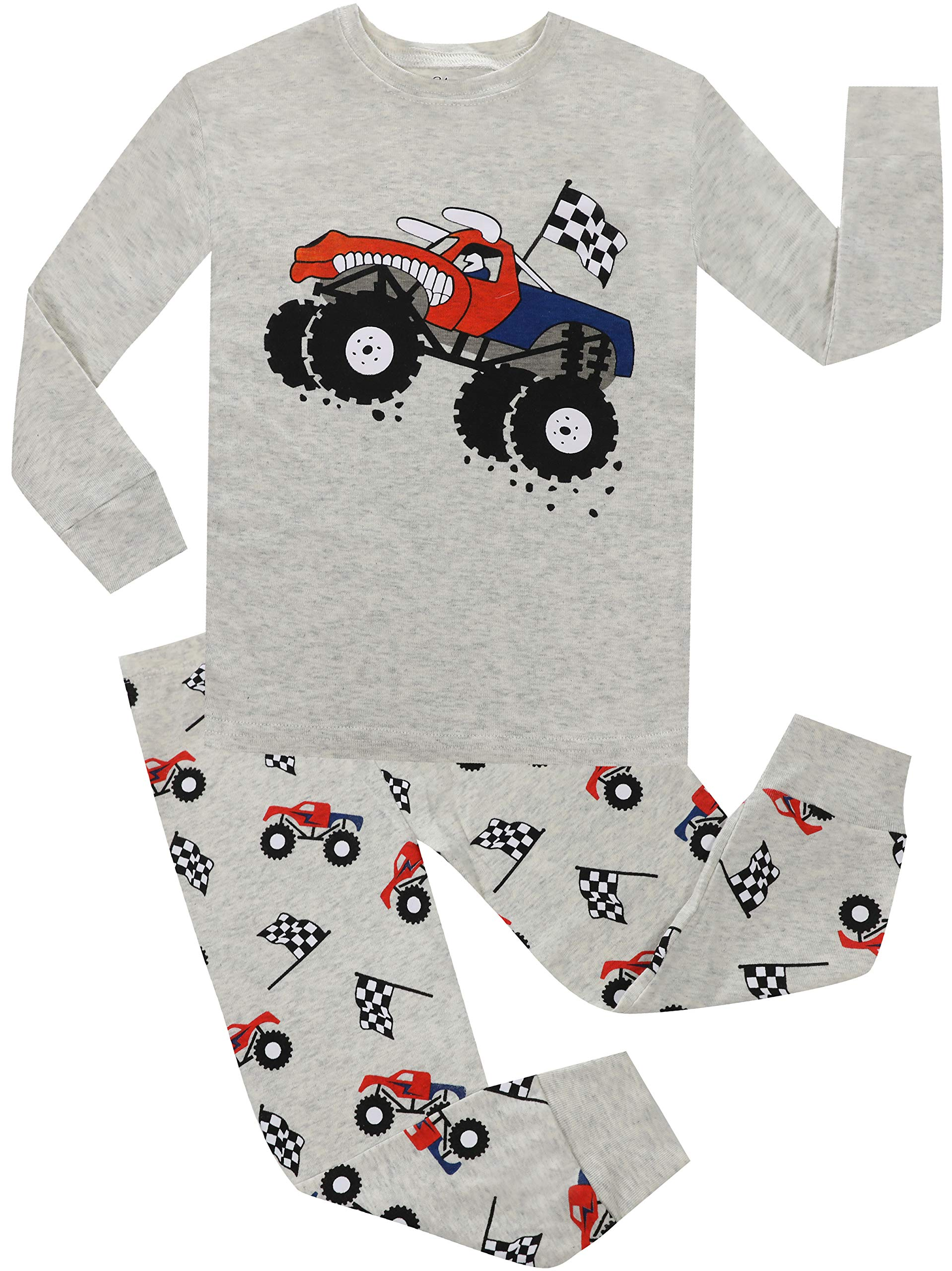 Pajamas for Boys Car Christmas Clothes 2 Piece PJS Sets 100% Cotton Children Sleepwear Size 7