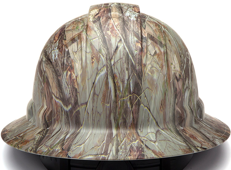 Durable Protection safety helmet Adjustable Ratchet 6 Pt Suspension Black Shiny by Tuff America Full Brim Hard Hat Graphite Pattern Design