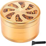 Grinder, Herb Grinder, Tiger Crush 2.5 Inch 4-piece Metal Herb Weed Grinder With Pollen Kief Catcher (Gold)