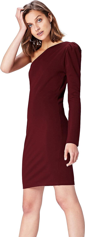 TALLA 38 (Talla del Fabricante: Small). Marca Amazon - find. Vestido con Hombro Descubierto para Mujer Negro (Schwarz) 38 (Talla del fabricante: Small)