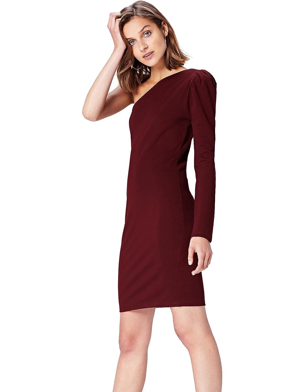 TALLA 40 (Talla del Fabricante: Medium). Marca Amazon - find. Vestido con Hombro Descubierto para Mujer Rojo (Tawny Port) 40 (Talla del fabricante: Medium)