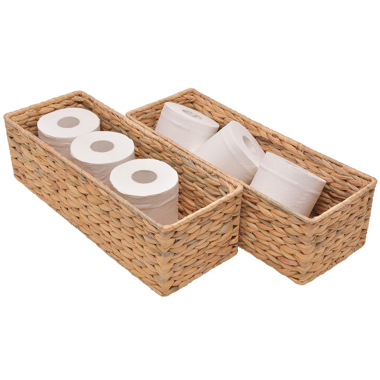 StorageWorks Water Hyacinth Toilet Paper Basket, Woven Storage Basket for Toilet Tank Top, Rattique Tank Topper in Bathroom,16.9