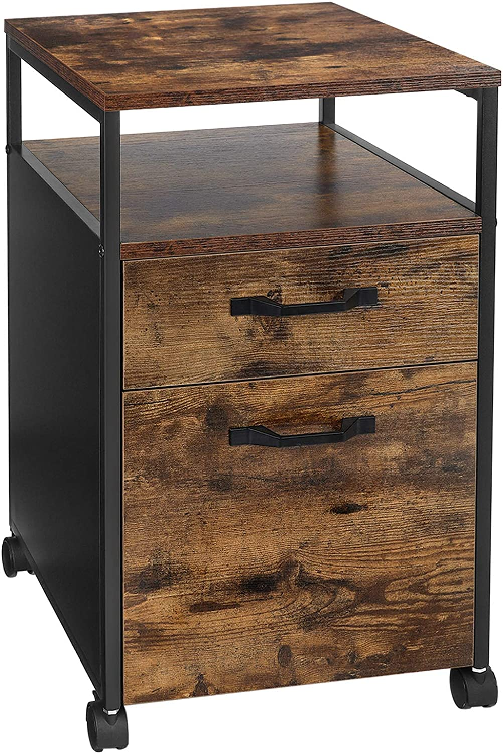 VASAGLE Rolling File Cabinet, Mobile Office Cabinet on Wheels, with 2 Drawers, Open Shelf, for A4, Letter Size, Hanging File Folders, Industrial Style, Rustic Brown and Black UOFC71X