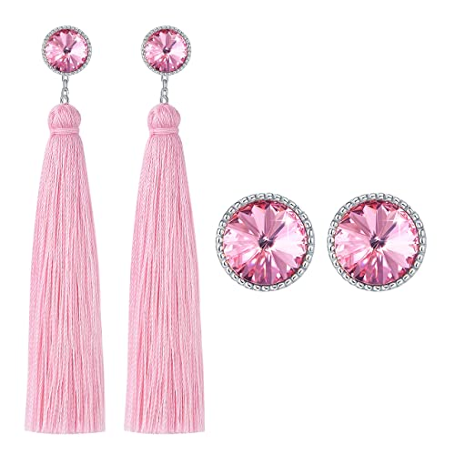 811eed3db CRYSLOVE Tassel Earrings for Women- 925 Sterling Silver Earrings with  Crystals from Swarovski Bohemian Dangle