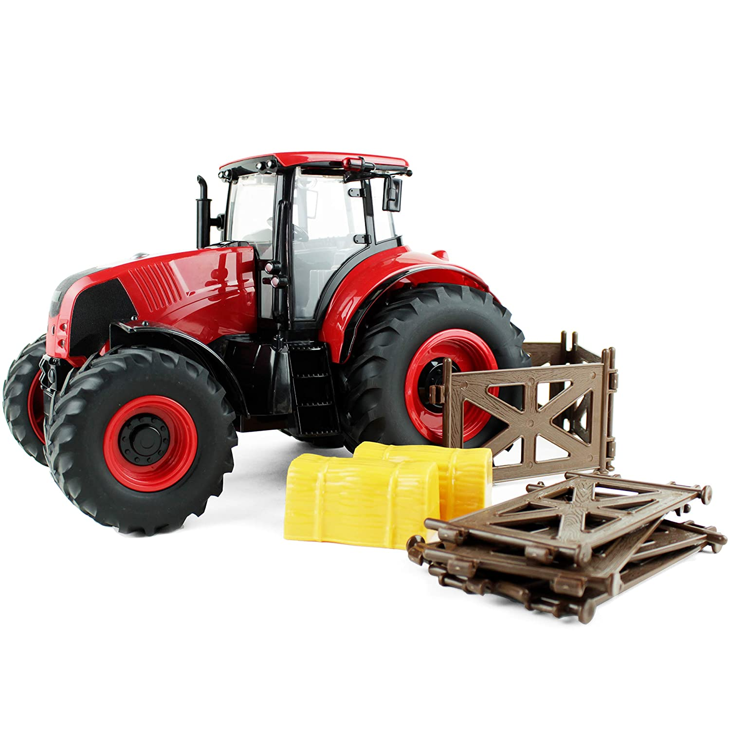 Boley Red Farm Tractor Toy - Farm Tractor Car with Hay Bales and Barn Gates - Lights Up and Makes Sounds