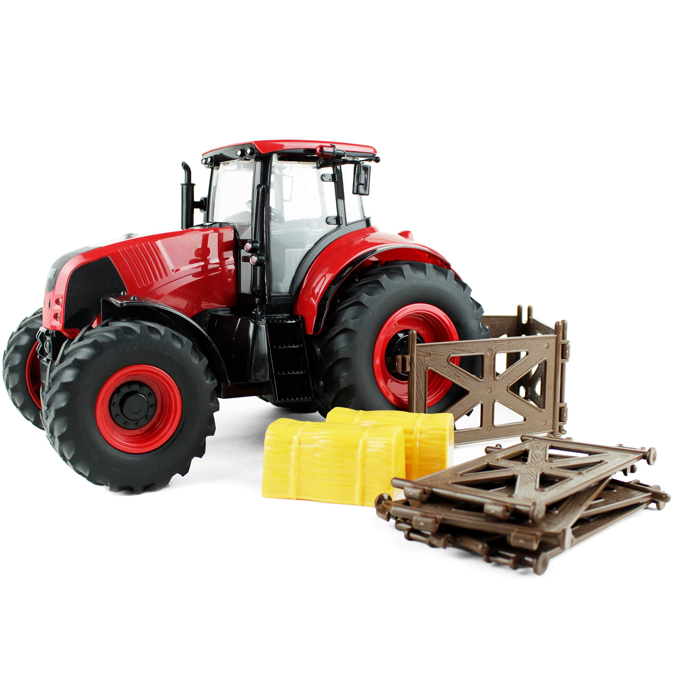 Boley Red Farm Tractor Toy - Farm Tractor Car with Hay Bales and Barn Gates - Lights Up and Makes Sounds by Boley