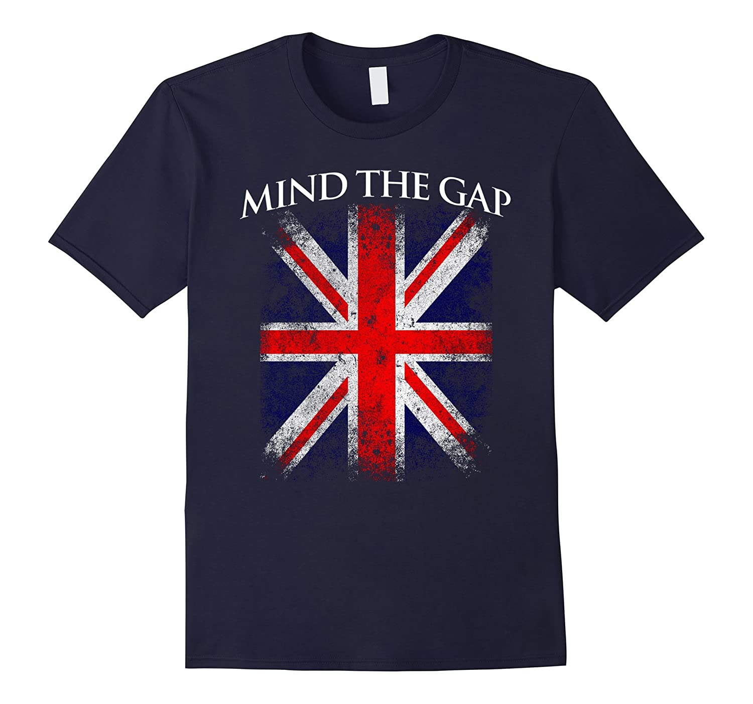 Mind The Gap London Underground British Flag Vintage T-Shirt-CD