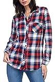 Urban Look Womens Long Sleeve Plaid Button Down Flannel Shirt