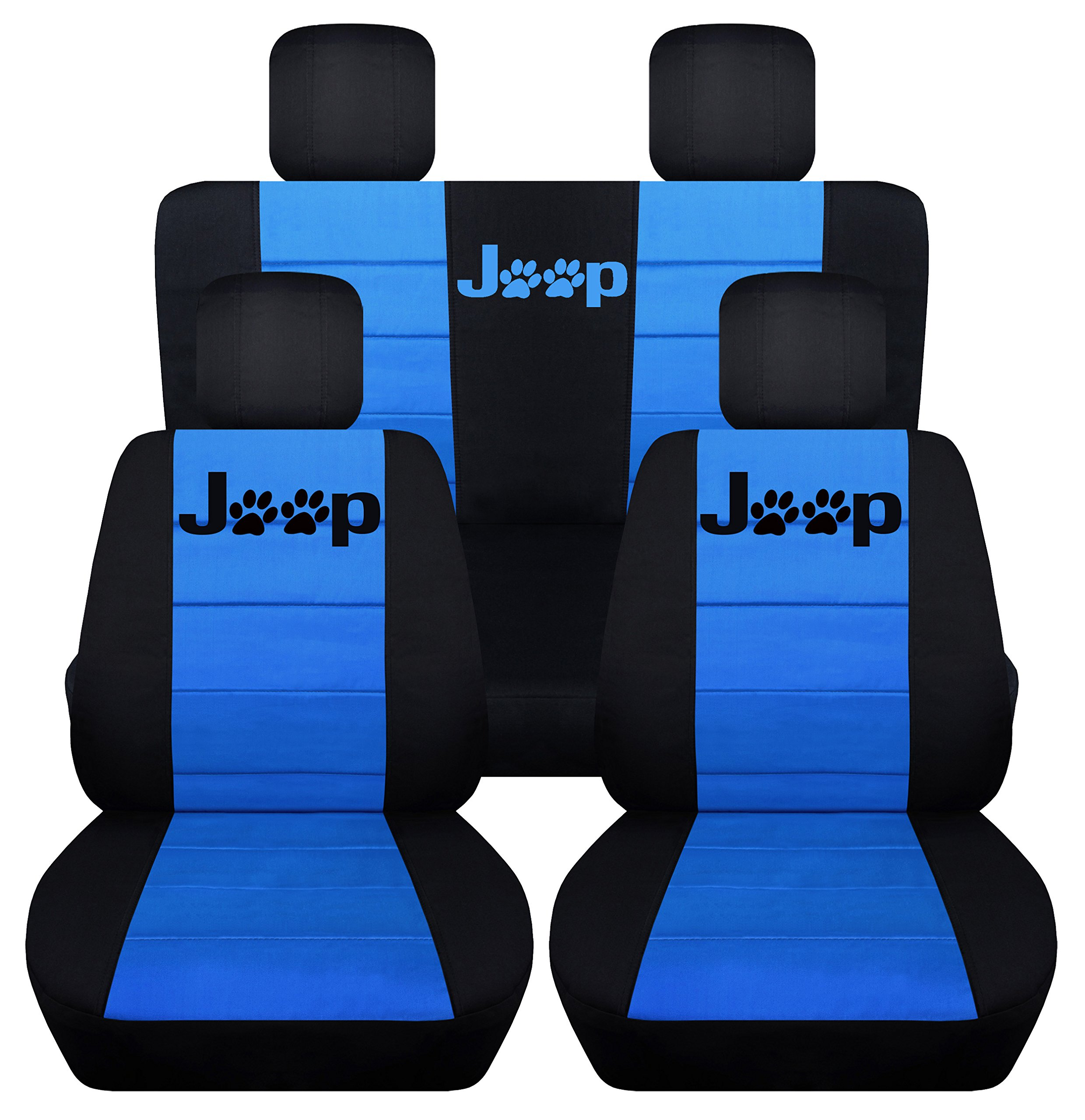 Designcovers Fits 2013 to 2017 Jeep Wrangler 4 Door Paw Print Seat Covers 21 Color Options (Black and Light Blue)