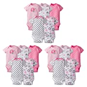 Gerber Baby Girls' 15-Piece Variety Grow-with-Me Onesies Bodysuits, Elephants/Flowers, Assorted Months