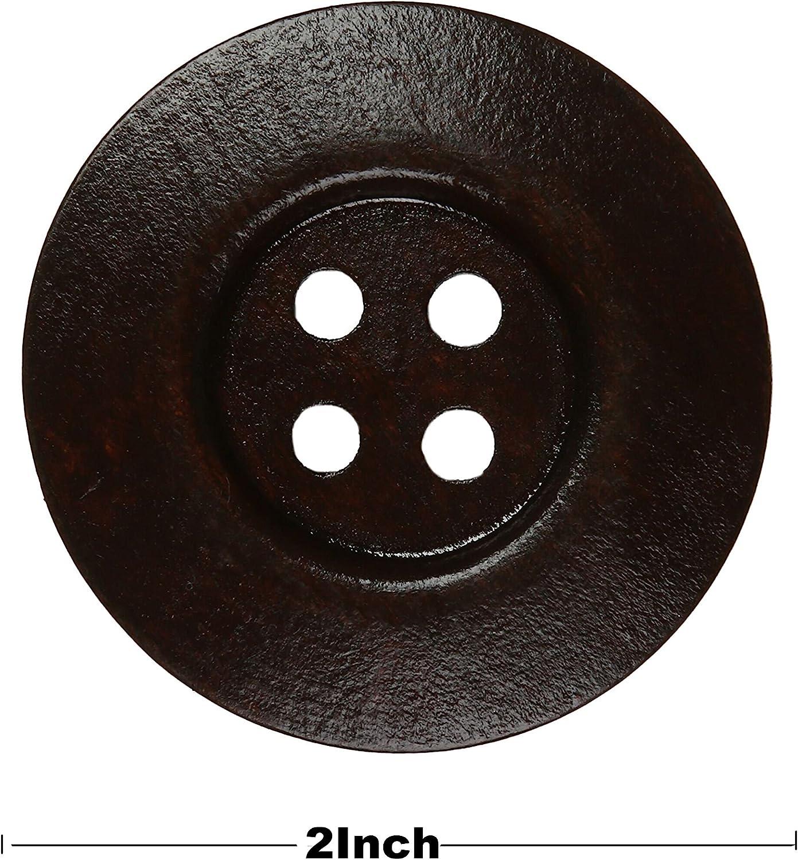 YAKA 40pcs Round Wood Buttons 4 Holes,Craft Buttons for Sewing Clothing,Sewing Buttons for Crafts Size1.5inch Style1